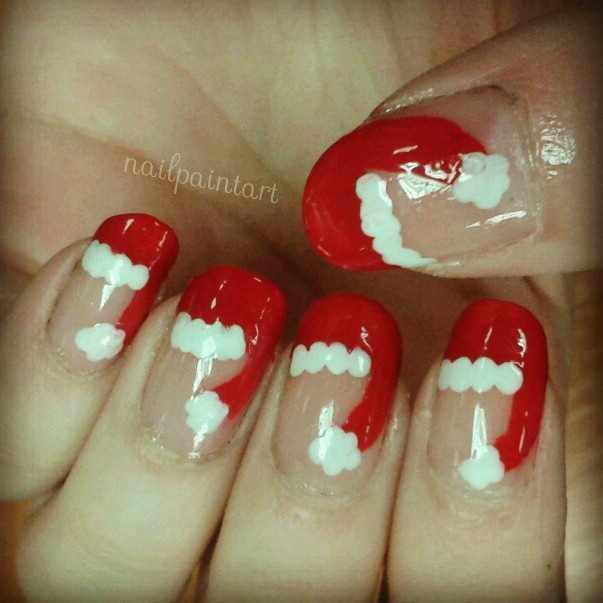 Nail polishes used: Sally Hansen Hard as Nails Rimmel I <3 Lasting Finish  in Double Decker Red Miss Sporty Nail Tip Whitener Sally Hansen Insta-Dri  Top Coat - Christmas Nails - Santa Hats - Nail, Paint, Art!